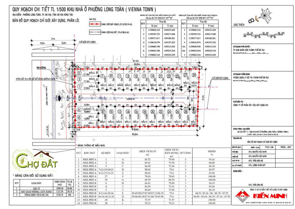 Bản vẽ thiết kế xây dựng Khu nhà ở Đất nền nhà phố Bà Rịa Vienna Town Chợ Đất