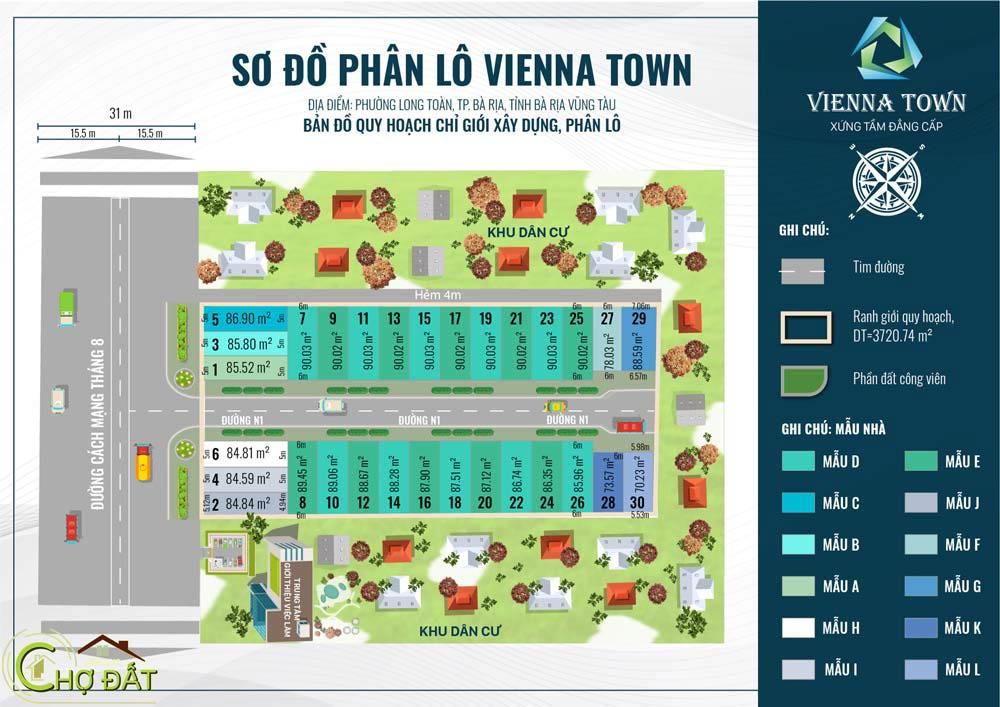 Sơ đồ phân lô Đất nền nhà phố Bà Rịa Vienna Town Chợ Đất