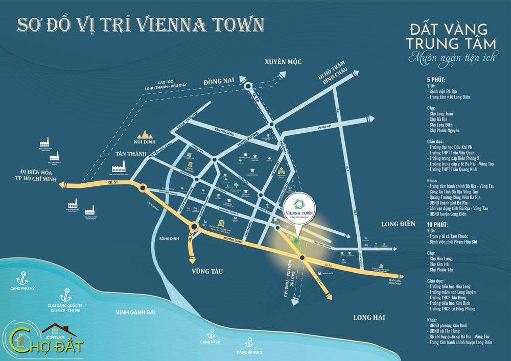 Vị trí Khu nhà ở Đất nền nhà phố Bà Rịa Vienna Town Chợ Đất