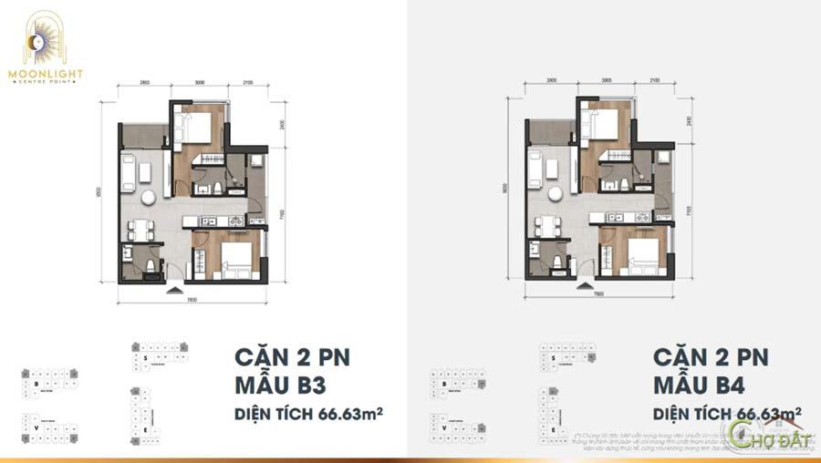 Thiết kế căn hộ 2 phòng ngủ dự án Moonlight Centre Point