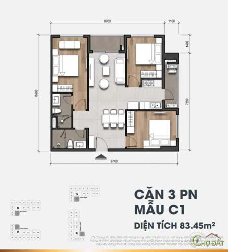 Thiết kế căn hộ 3 phòng ngủ dự án Moonlight Centre Point