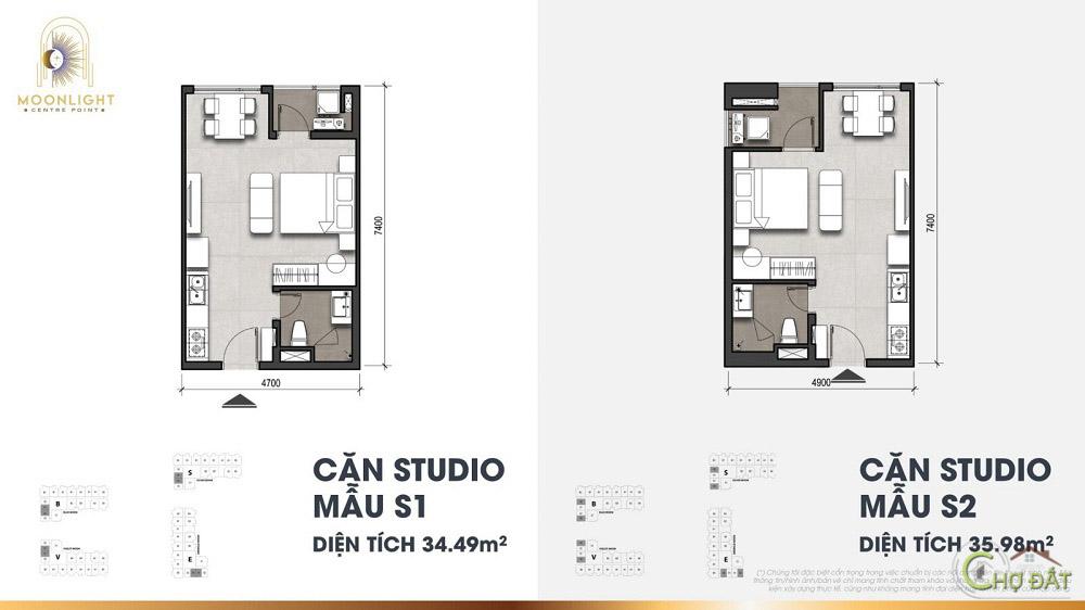 Thiết kế căn hộ studio dự án Moonlight Centre Point