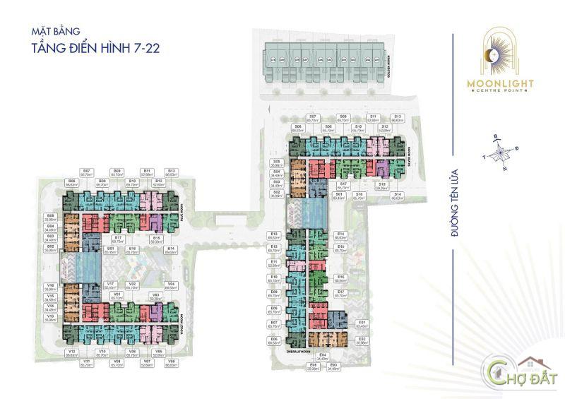 Mặt bằng tầng 7-22 dự án Moonlight Centre Point