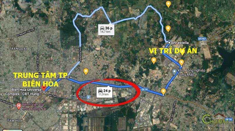 Thời gian di chuyển đến dự án khu đô thị Sông mây PNR Estella Đồng Nai