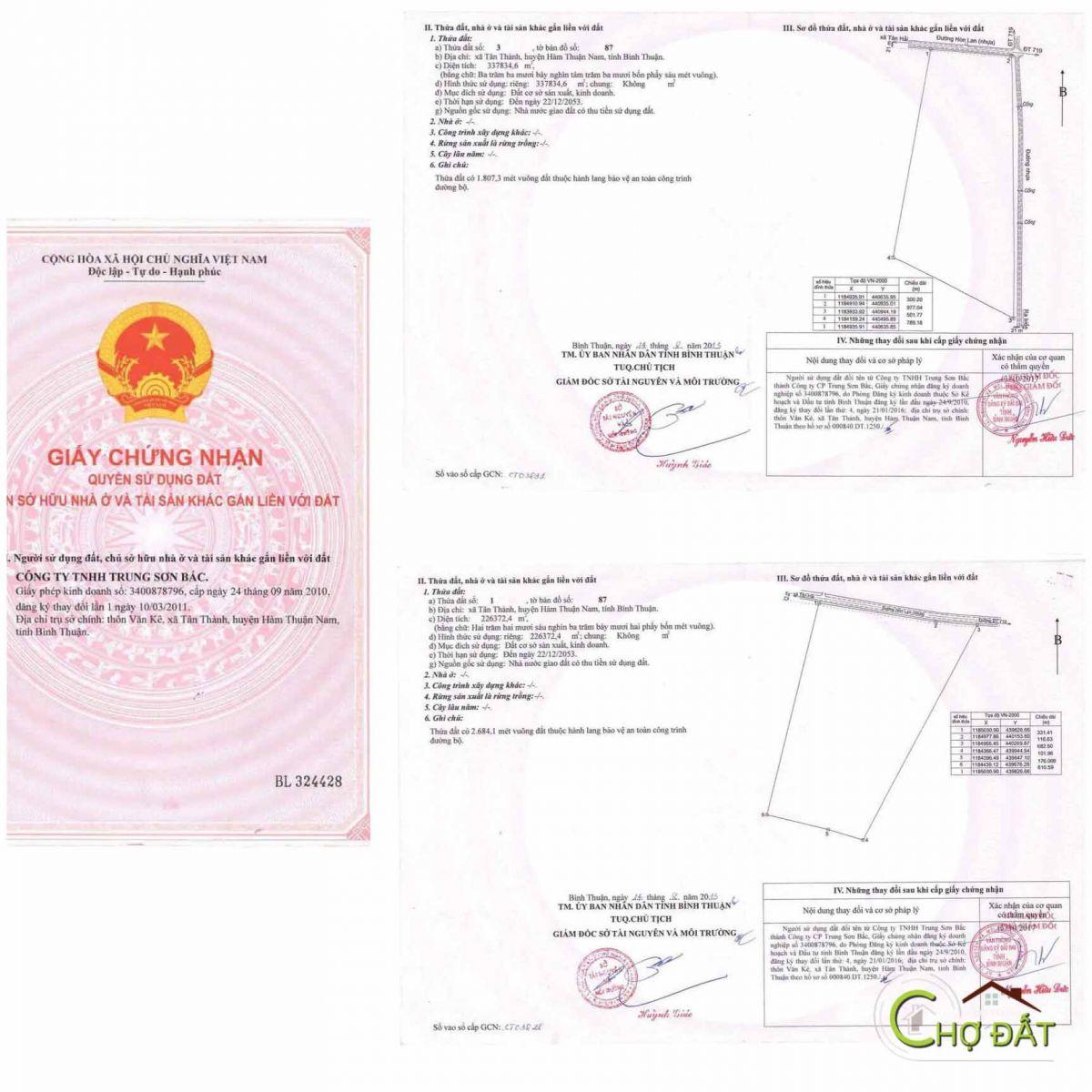 Sổ đỏ tổng của dự án bất động sản nghĩ dưỡng Thanh Long Bay (Mũi Kê Gà - Bình Thuận)