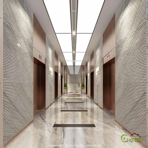 Sảnh hành lang chờ 6 thang máy mặt bằng tầng dự án căn hộ chung cư Thảo Điền Green Quận 2